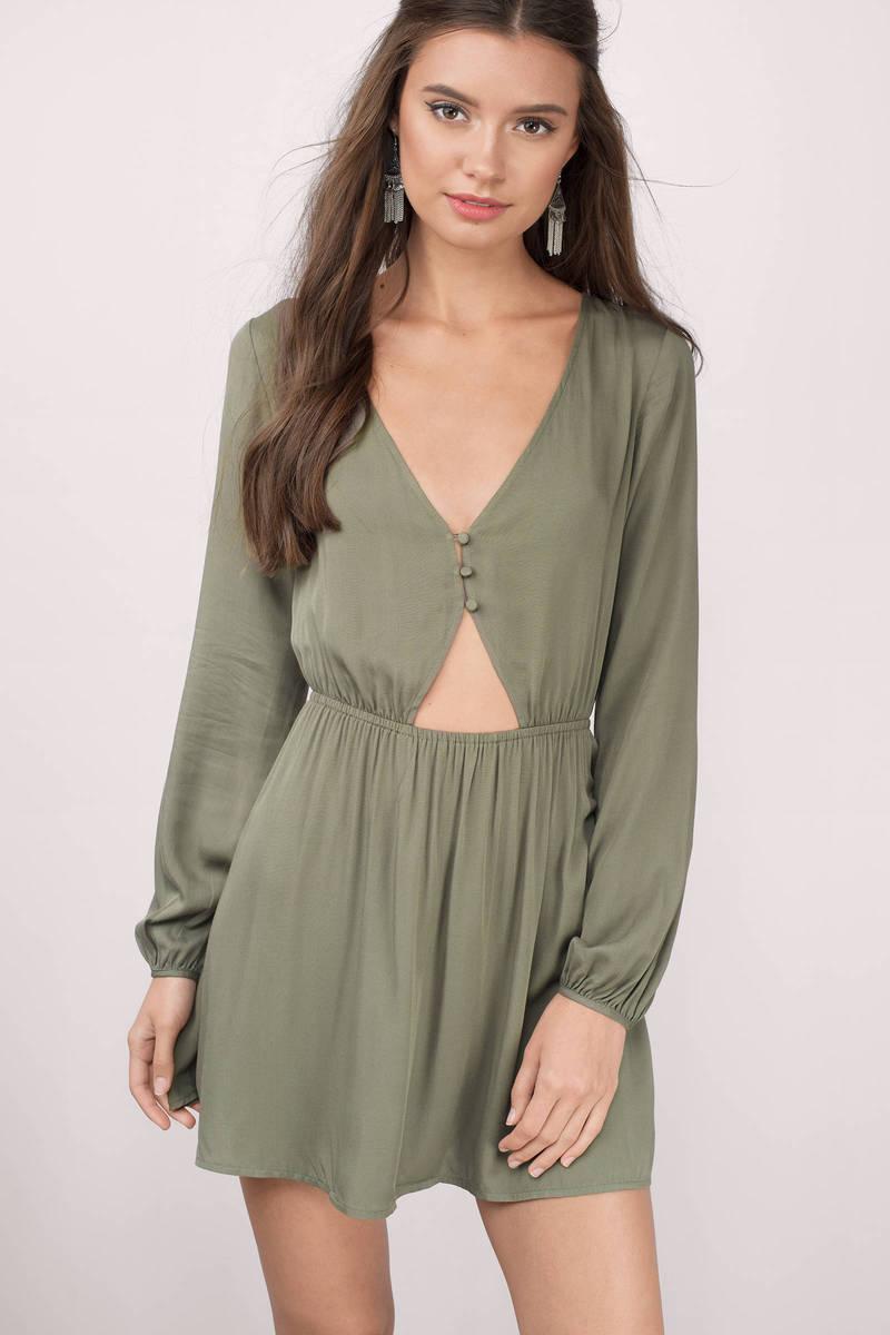 Cute Olive Skater Dress - Button Front Dress - Skater Dress - S  23 ... 74eecb543