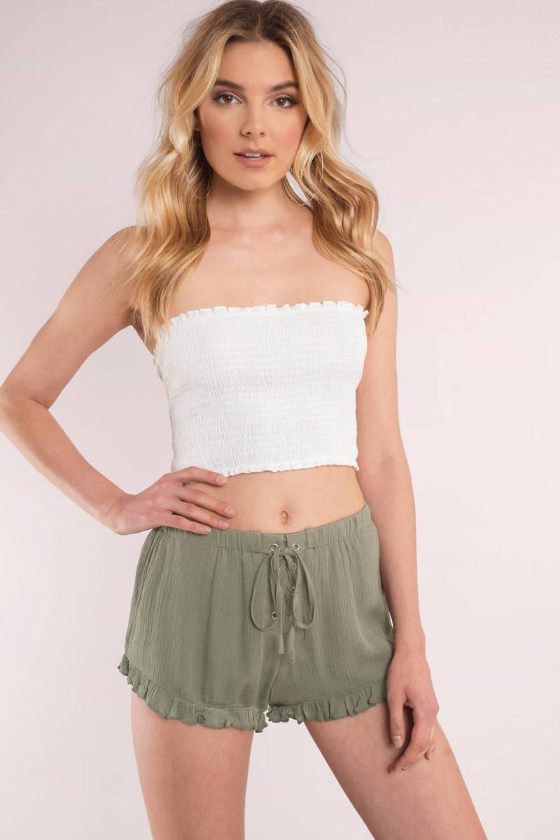 Mykonos Olive Lace Up Ruffle Shorts