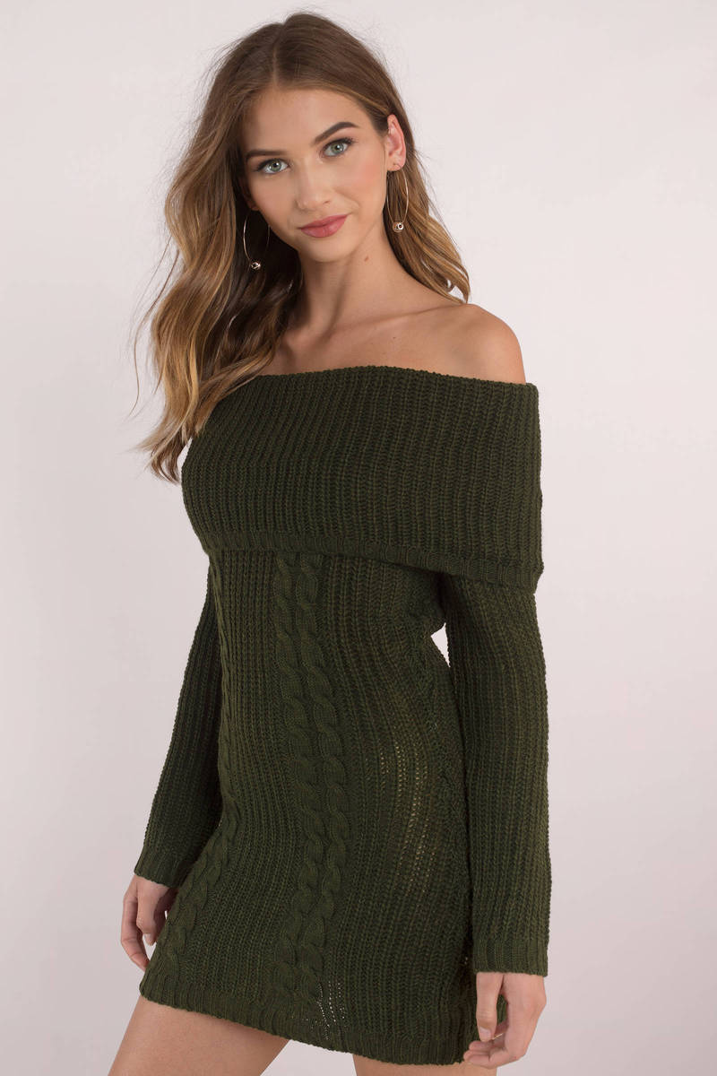 Olive Casual Dress Off Shoulder Dress Olive Sweater Dress Nz