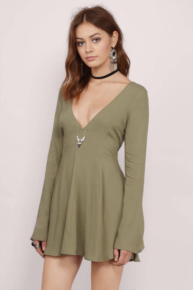 Never Let Me Go Olive Skater Dress