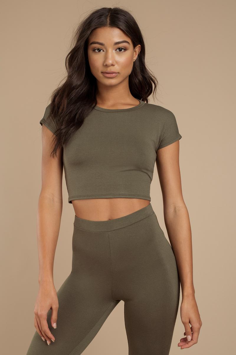 a0cbd5f3db4d6e Cute Olive Green Crop Top - Short Sleeve Top - Short Sleeve Top - $6 ...