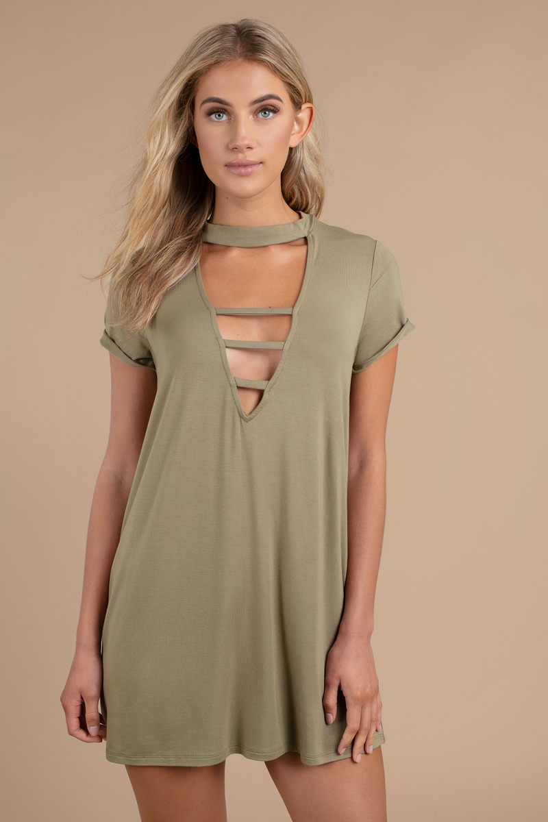 Sexy Olive Dress Plunging Neckline Short Sleeve Dress 13