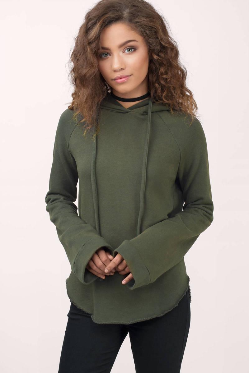 Honey Punch Honey Punch Rina Olive Hoodie Sweatshirt