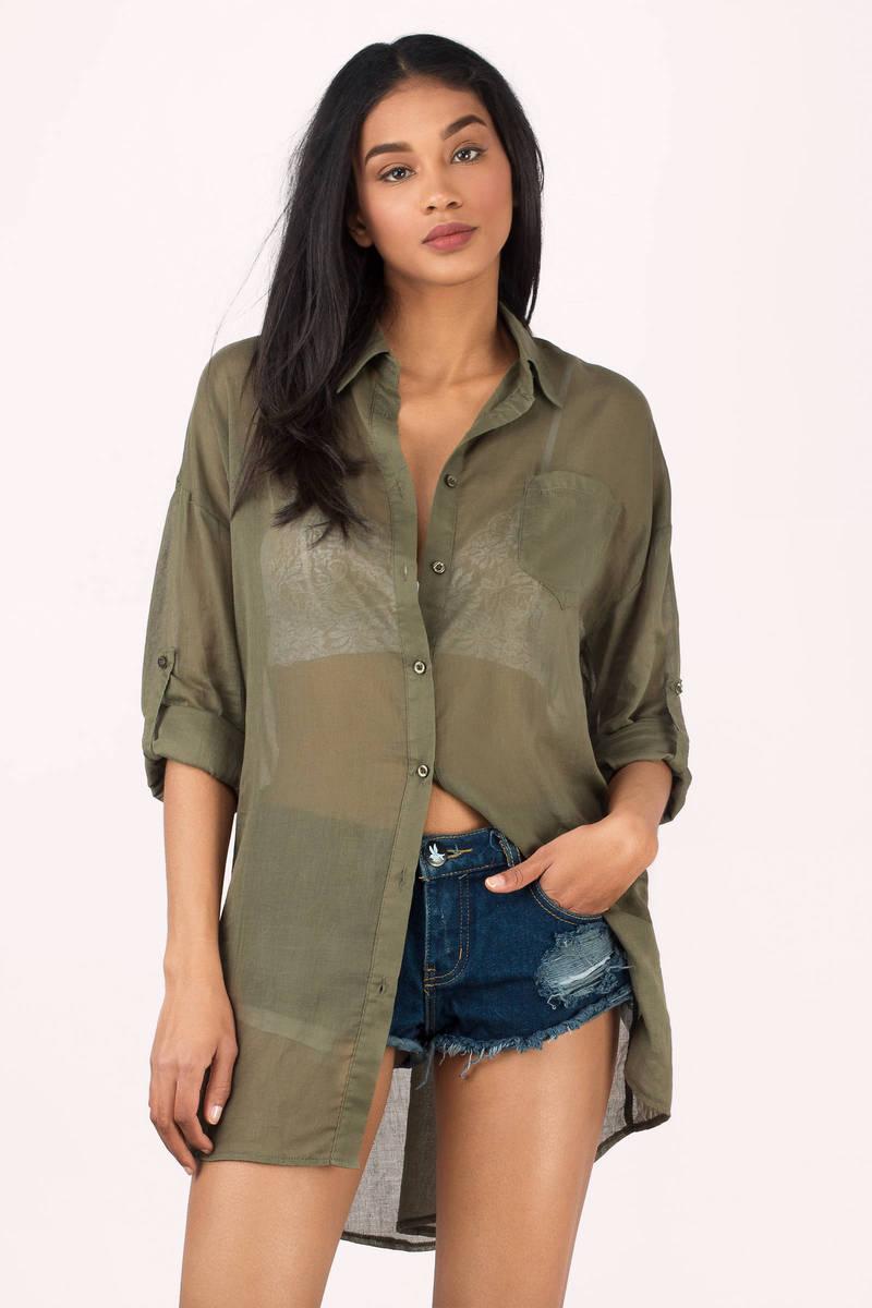 Sarah Olive Button Up Shirt