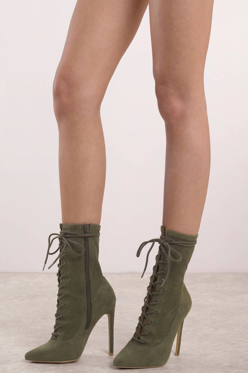 Steve Madden Steve Madden Satisfied Olive Lace Up Heels
