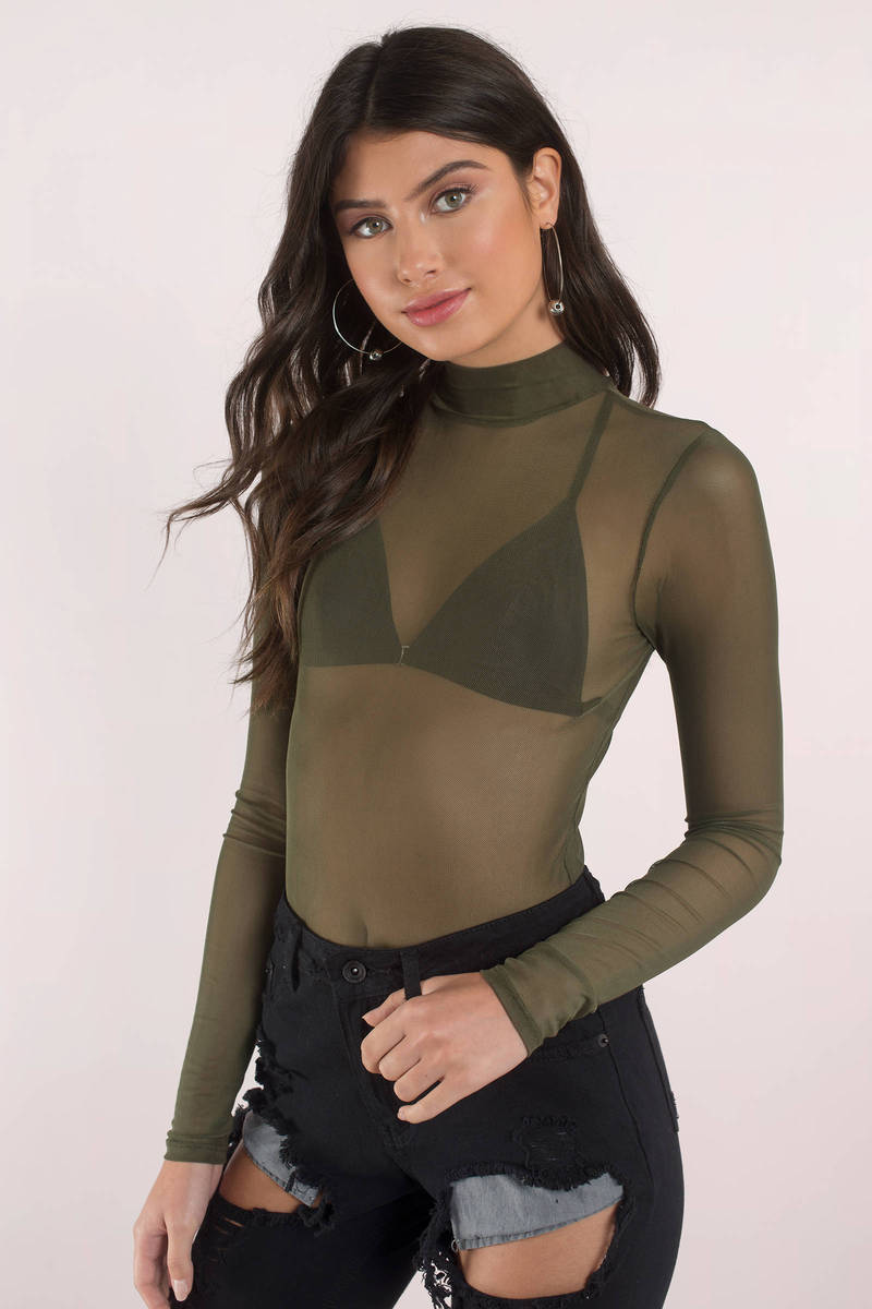 c90296572b Cute Olive Bodysuit - Long Sleeve Bodysuit - Mesh Bodysuit - C  13 ...