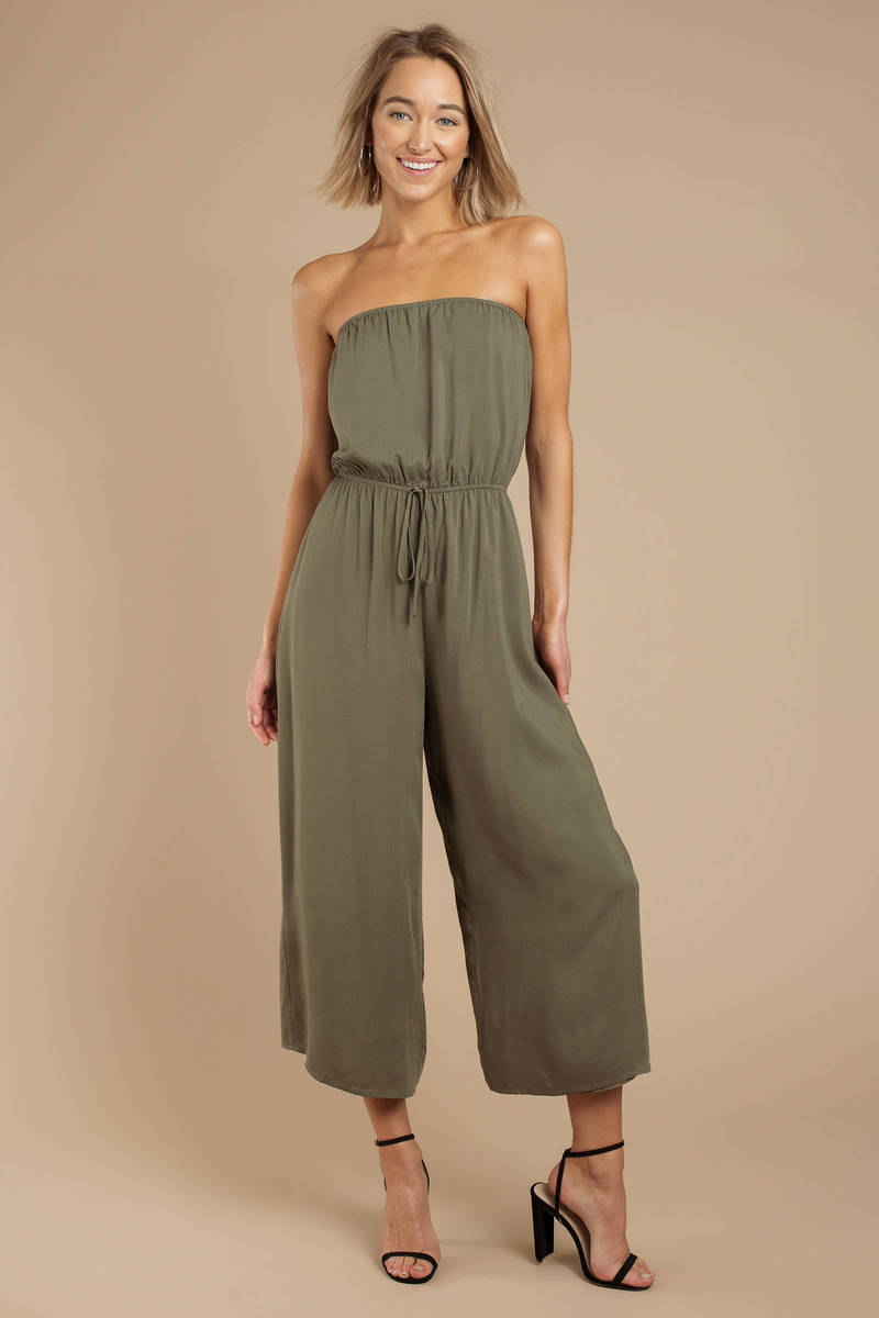 9041b5789ab Olive Green Jumpsuit - Sleeveless Jumpsuit - Olive Green Culotte ...
