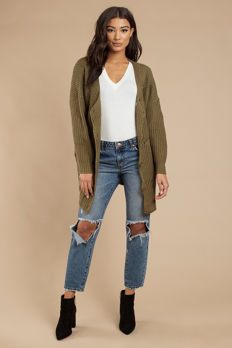 Trendy Olive Cardigan - Knitted Cardigan