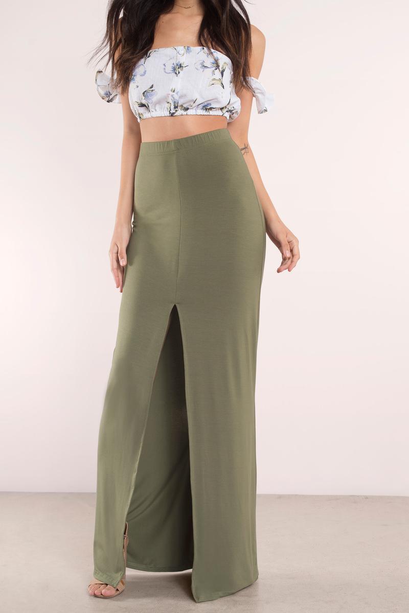 olive skirt front slit skirt maxi skirt olive