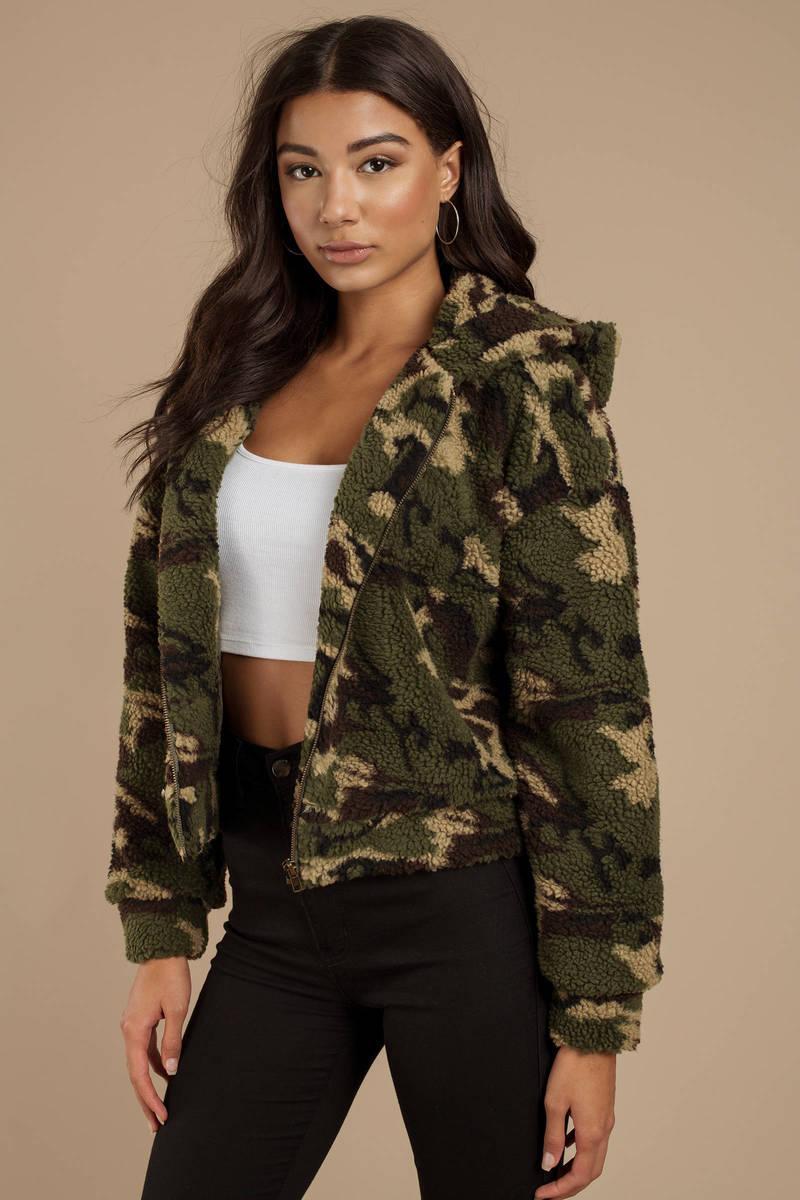 1dab5d43a6ff9 Green Fuzzy Jacket - Camo Parka Jacket - Green Army Jacket - $108 ...