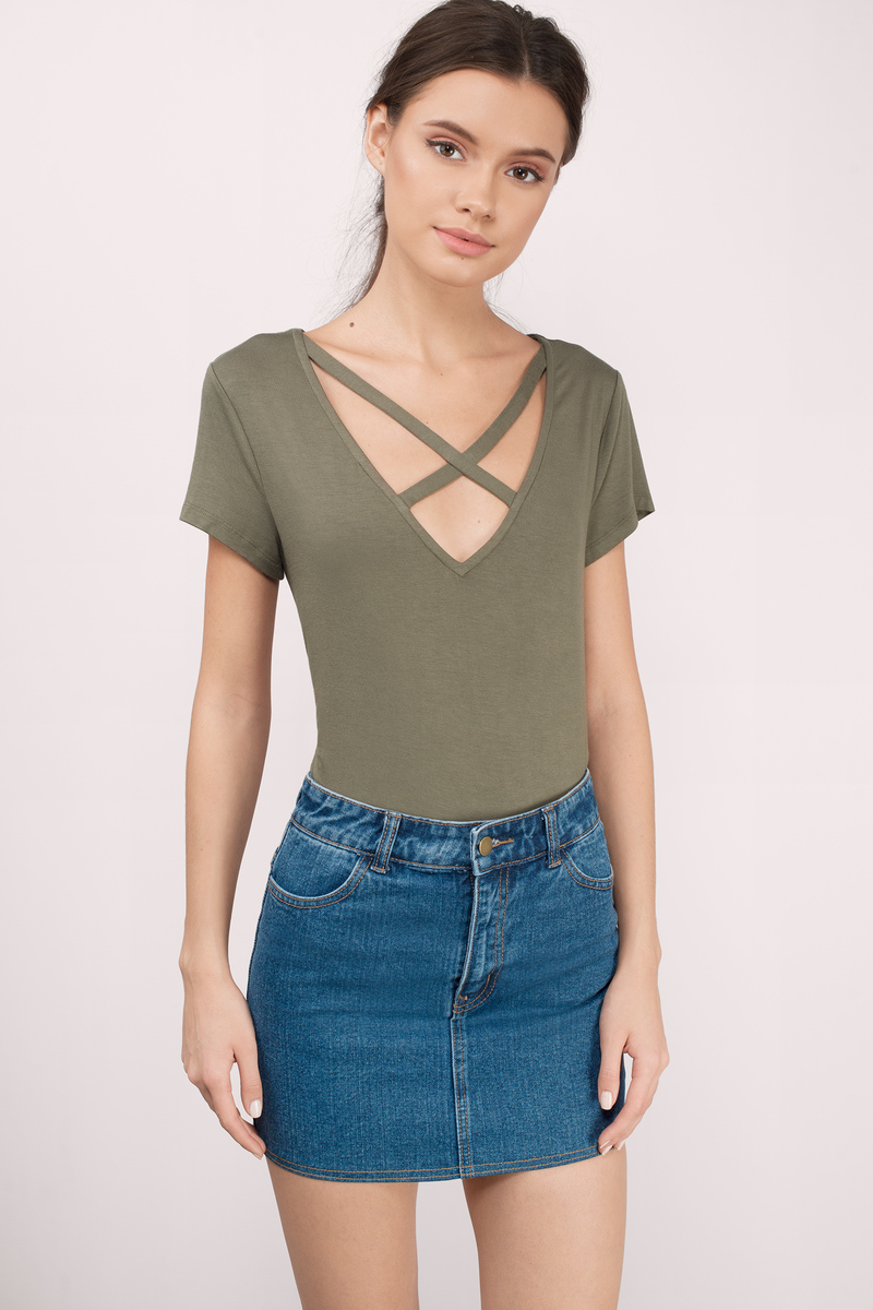 e42ed3c68b15 Cute Olive Top - Strappy Top - Olive Top - Olive Tee Shirt - NZ$ 22 ...