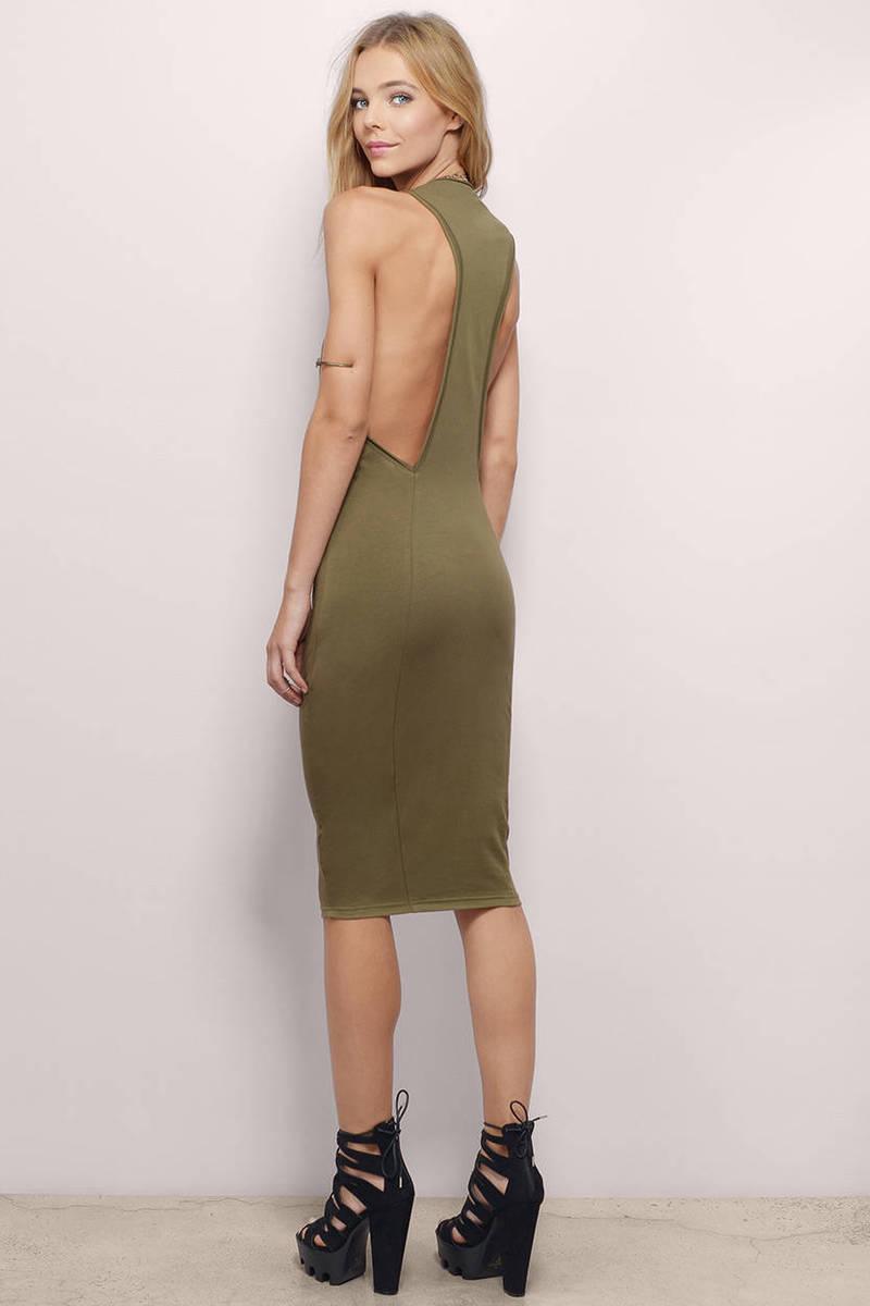 Taking Sides Olive Cotton Midi Dress