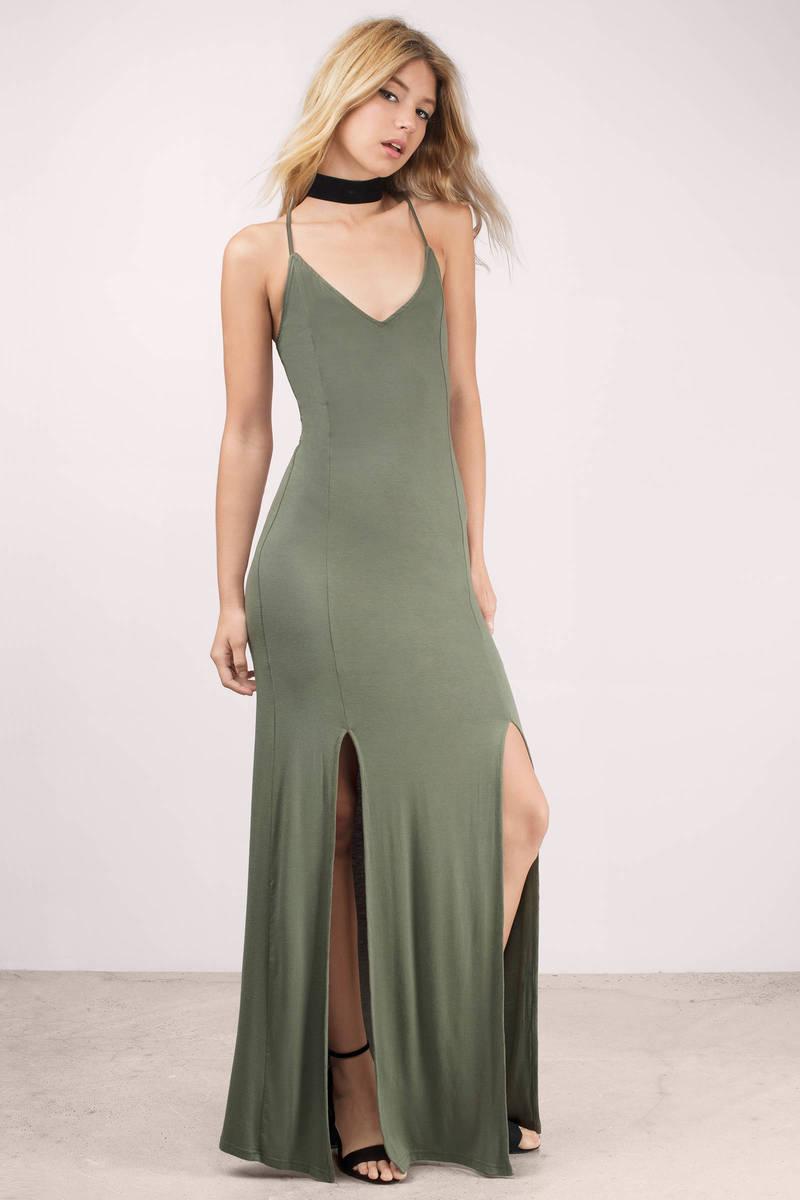 555098855f Cute Olive Dress - Side Slit Dress - Pewter Long Dress - Maxi Dress ...