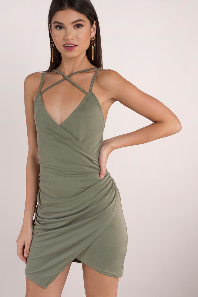 1d025c9e68a0 Olive Green Bodycon Dress - Cami Bodycon Dress - Olive Green Ruched ...