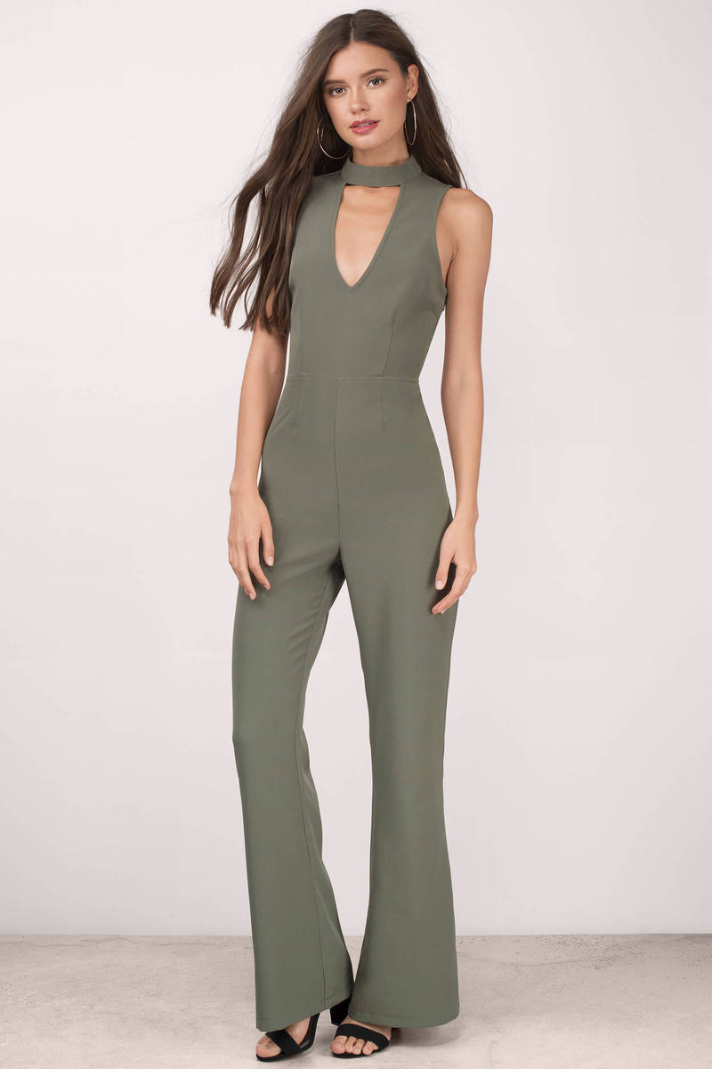 41bdd423ea Chic Olive Jumpsuit - Choker Jumpsuit - Chic Jumpsuit - Olive ...