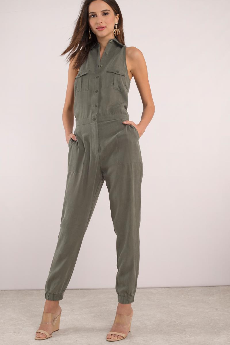 496f83c0b19 Cute Black Jumpsuit - Button Up Jumpsuit - Green Jumpsuit -  98 ...