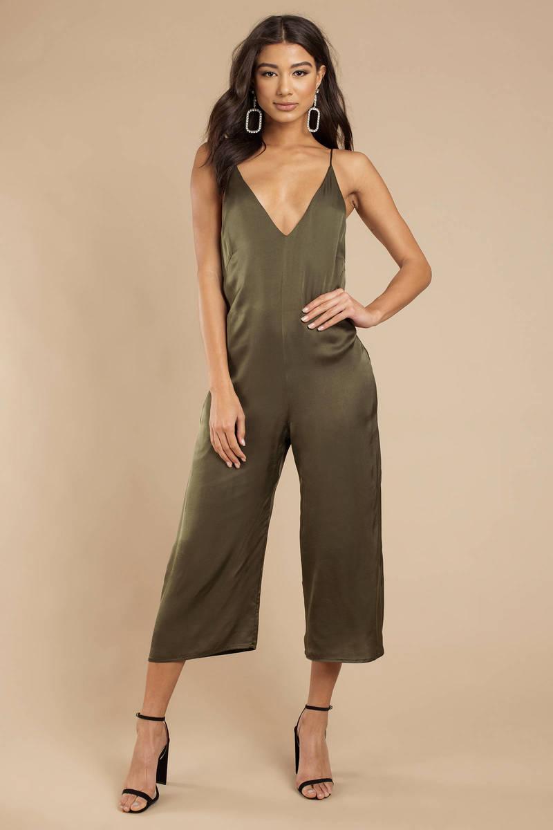4e7a26181956 Olive Green Jumpsuit - Boho Jumpsuit - Olive Green Culotte Jumpsuit ...