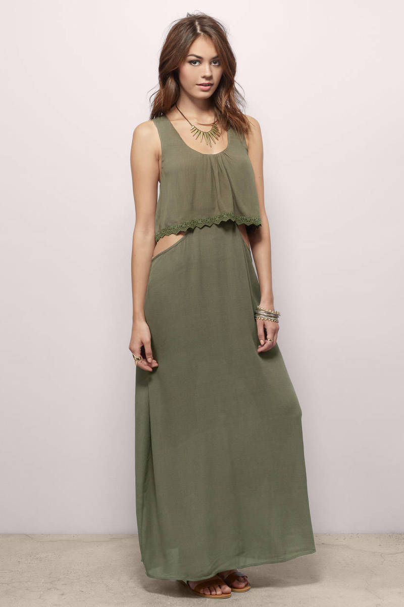 Trendy Olive Maxi Dress - Olive Dress - Cut Out Dress - Maxi Dress ...
