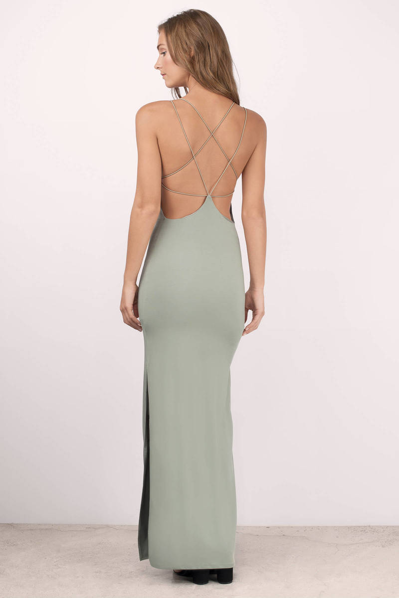 a2e3836136d Sexy Olive Maxi Dress - Open Back Dress - Prom Dress - Maxi Dress ...