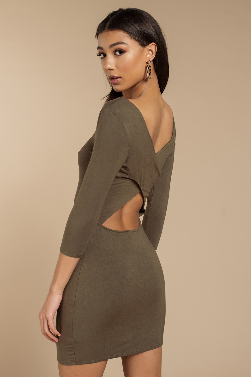 07d2b481c6 Olive Bodycon Dress - Cross Back Dress - Modest Little Olive Dress ...