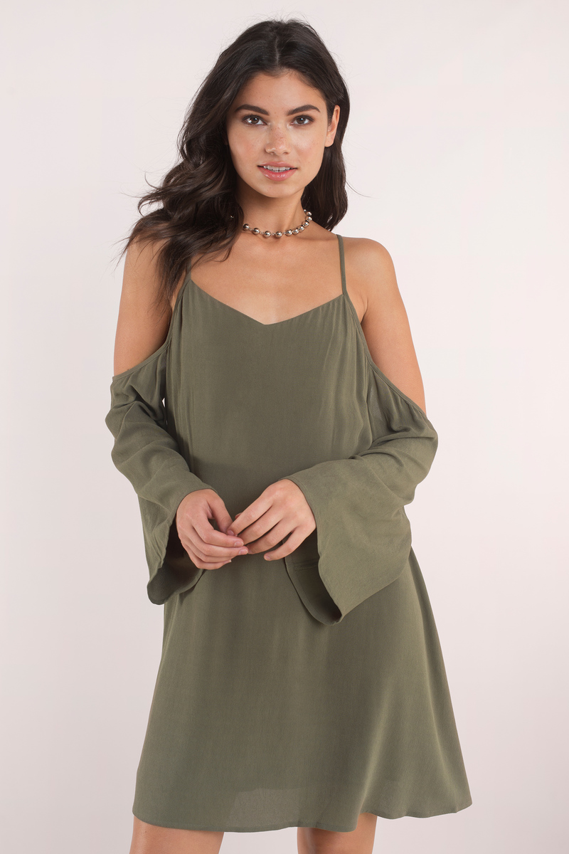 ccbea15db9f Sexy Olive Shift Dress - Cold Shoulder Dress - Shift Dress -  10 ...