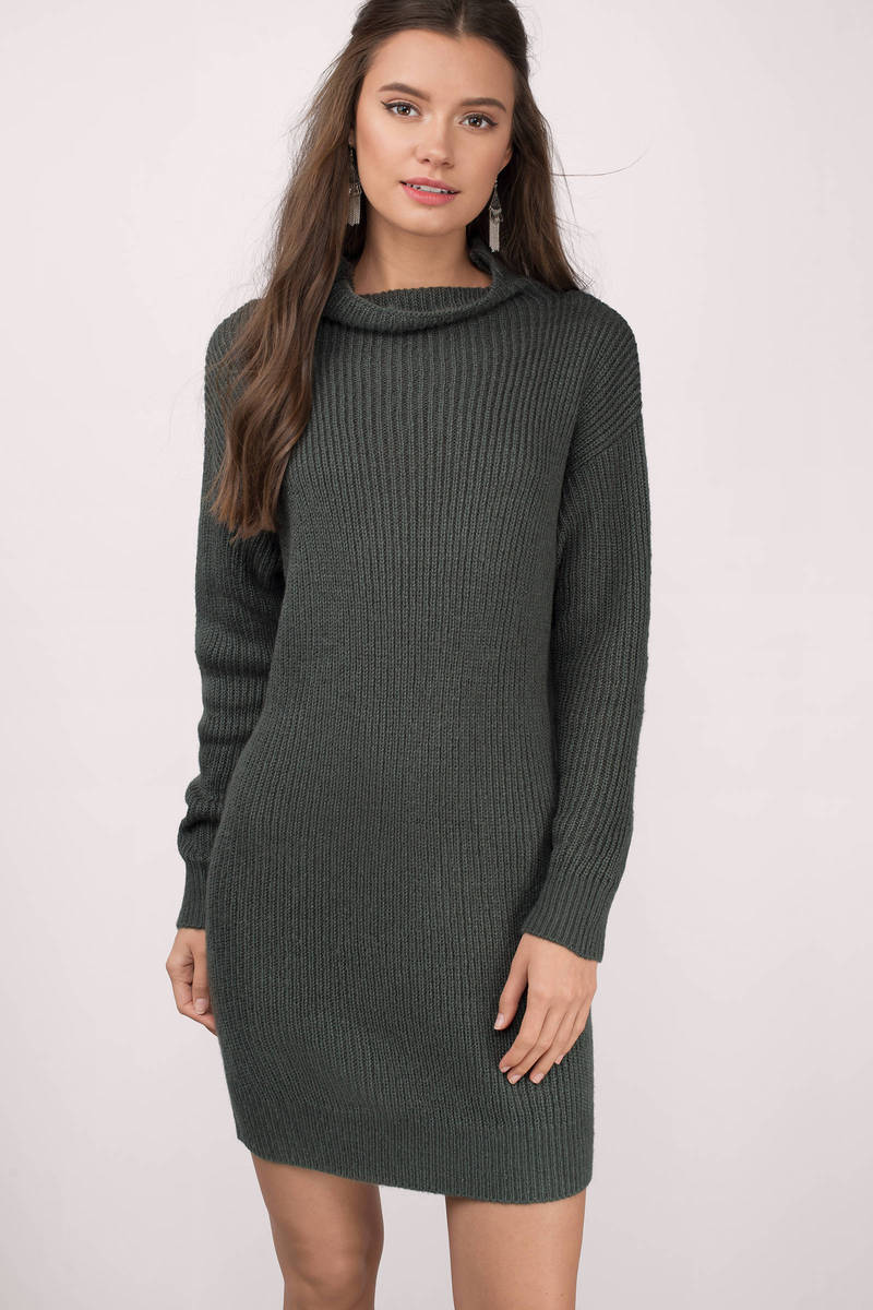 Up To It Olive Knitted Sweater Dress