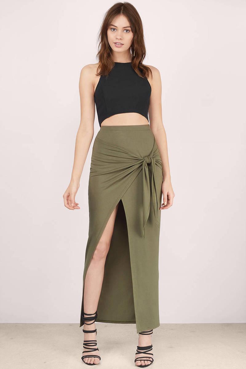 0d94927cc0 Trendy Olive Skirt - High Slit Skirt - Maxi Skirt - Olive Skirt ...