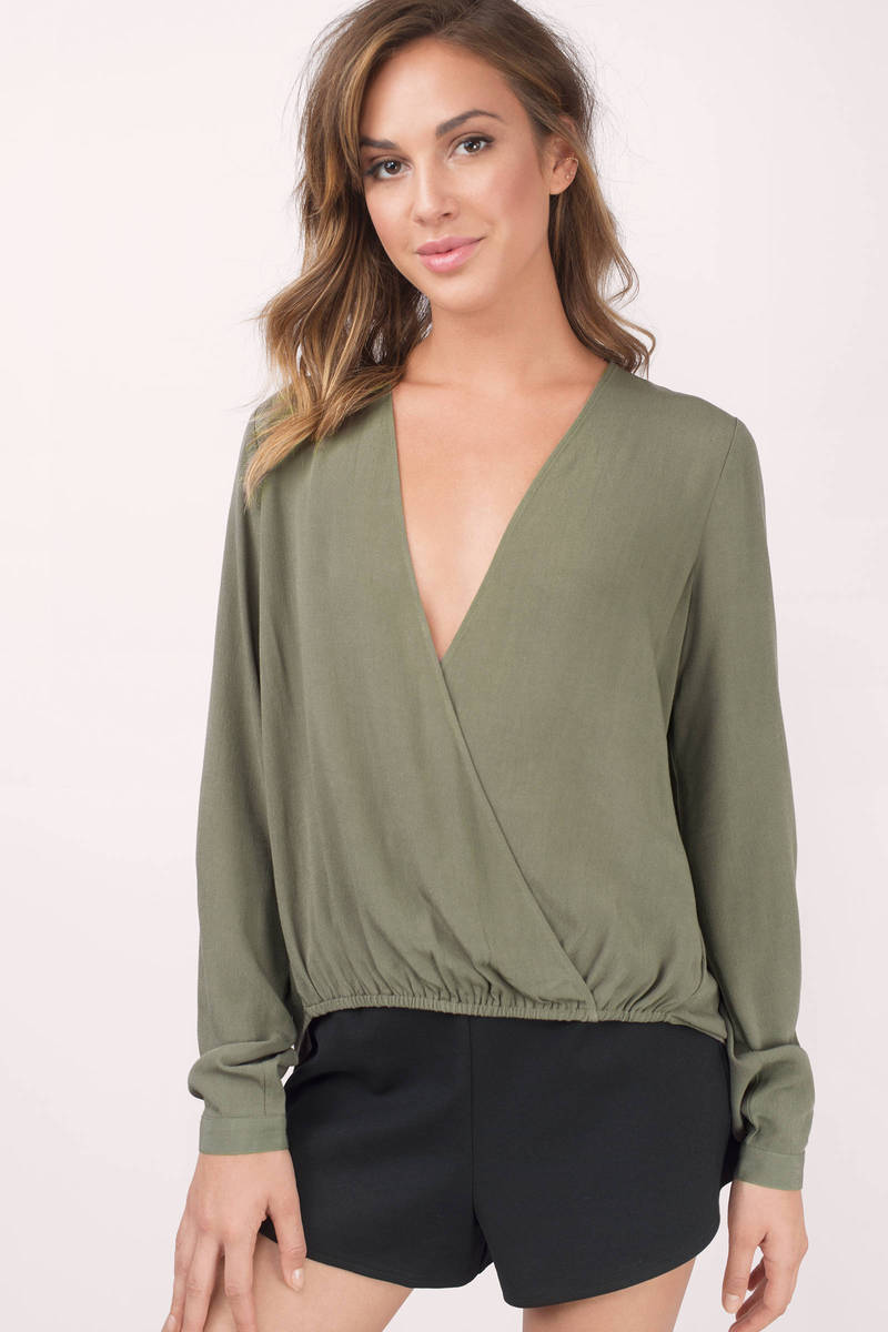 f1b902be4cfe17 Cute Olive Blouse - Surplice Blouse - Olive Blouse - Olive Top - $10 ...