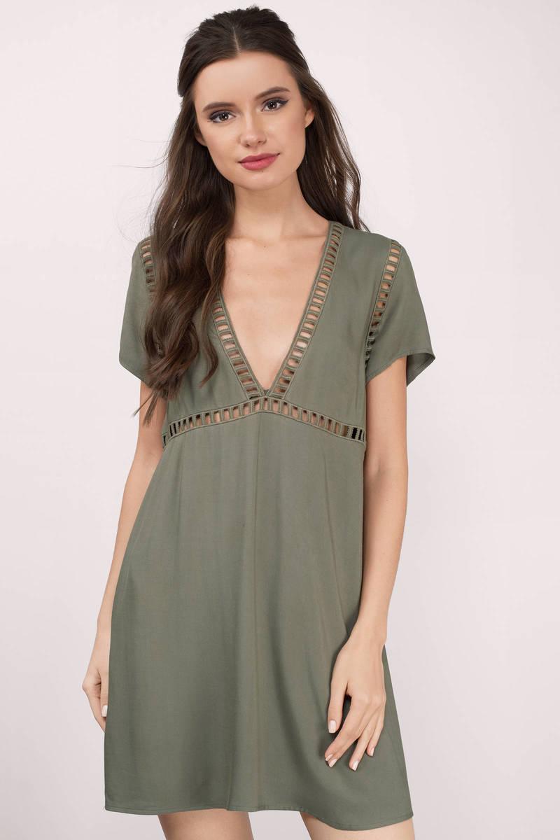 168f9964 Cute Olive Shift Dress - Plunging Dress - Olive Dress - Shift Dress ...