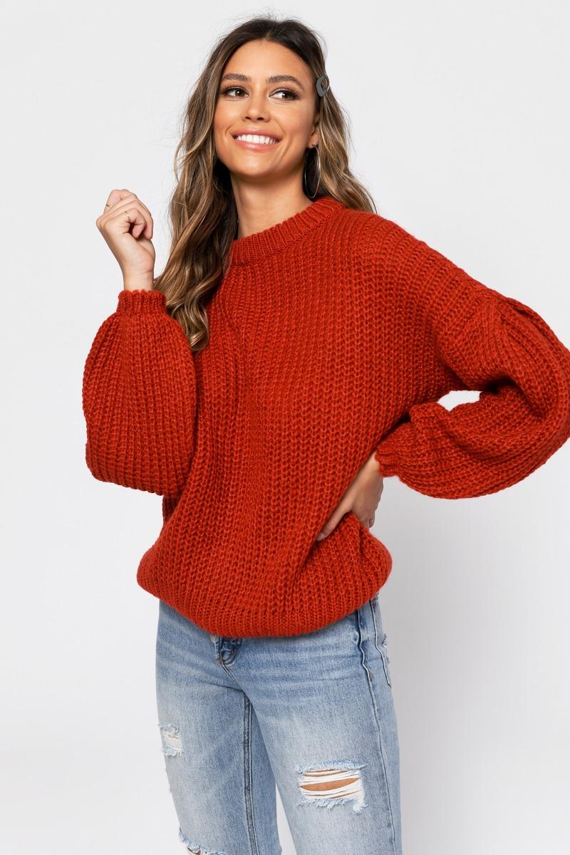 c017ec5819b88e Orange Sweater - Fall Sweater - Orange Balloon Sleeve Sweater - $27 ...