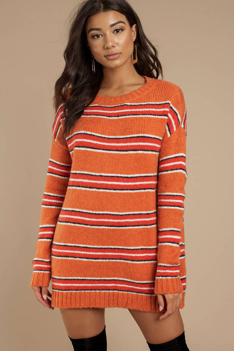 5180703eb84 For Love and Lemons For Love And Lemons Charlie Orange Multi Striped  Sweater Dress