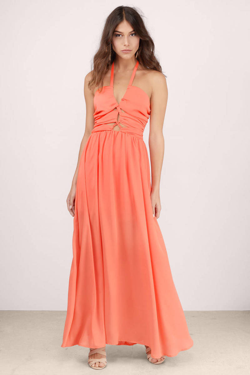 Orange Dress - Halter Dress - Fluorescent Orange Dress - Maxi Dress ...