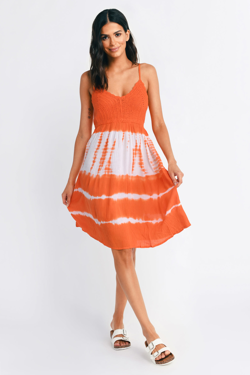 ba9d0ecd8ef0 Multi Dress - Tie Dye Dress - Tangerine Multi Dress - Skater Dress ...