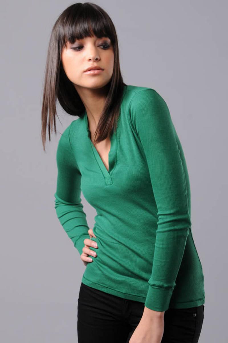 c0ec8afd Green Splendid Tee - Fitted T Shirt - Green Long Sleeve Top - $55 ...