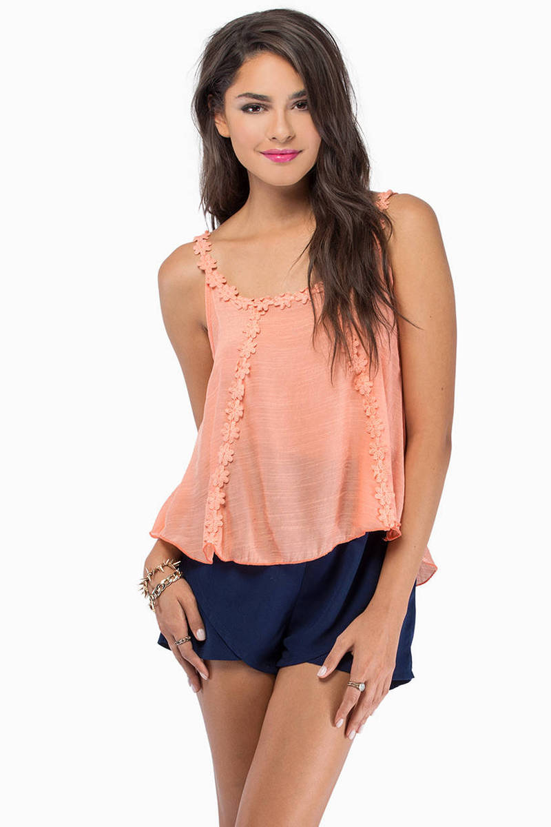 Adorned With Love Peach Tank Top