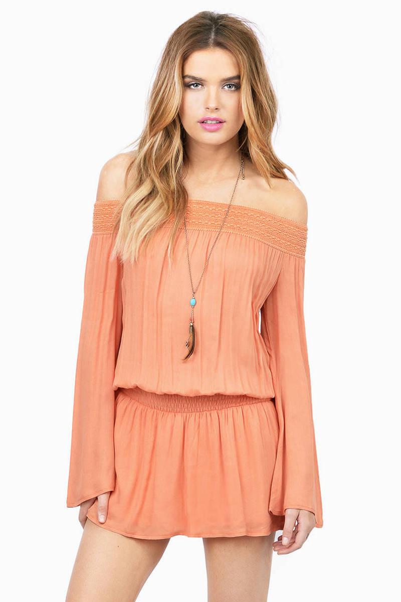 Bare Shoulders Peach Skater Dress