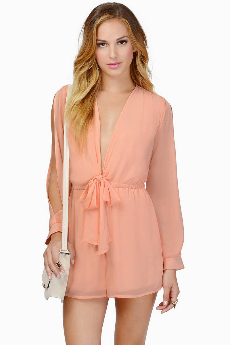 Calypso Peach Plunging V Long Sleeve Romper