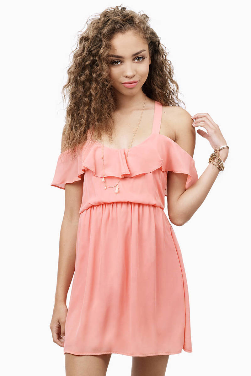 Fluttering Around Peach Cold Shoulder Skater Dress