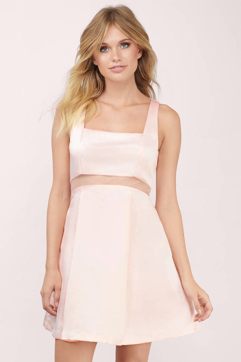 Haven Peach Skater Dress
