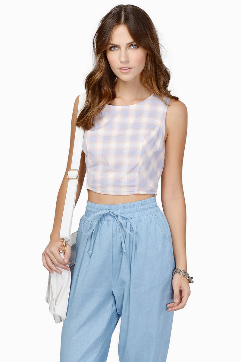 Without A Doubt Peach & Light Blue Crop Top