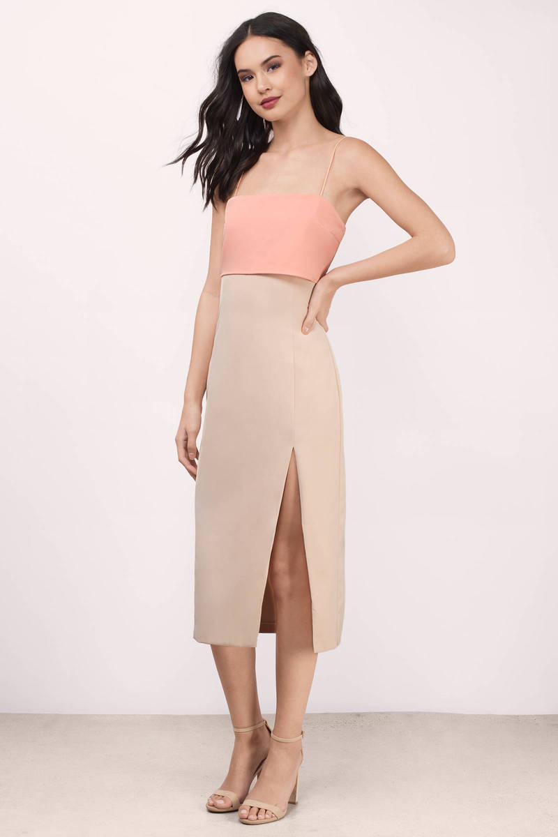 Love Affair Peach Midi Dress