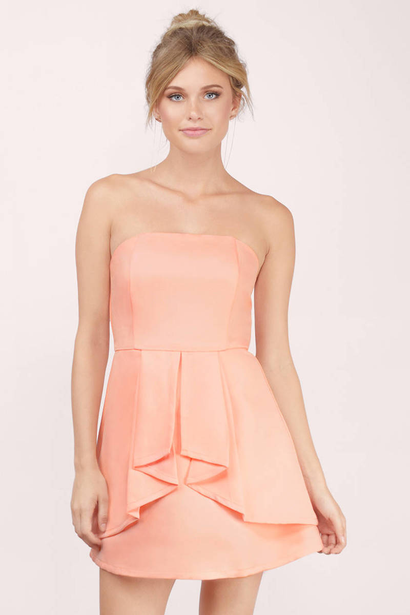 Peach Dress - Orange Dress - Peach Cocktail Dress - Skater Dress ...