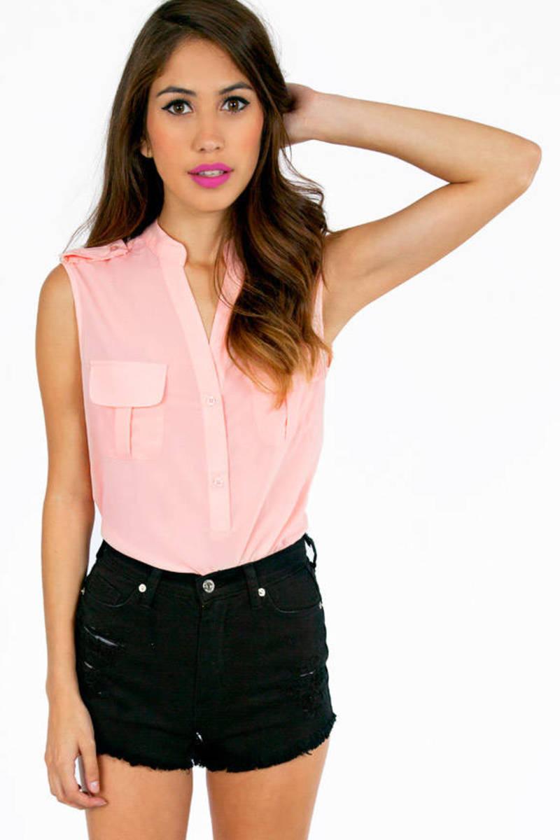 Shoulder Tab and Pocket Blouse