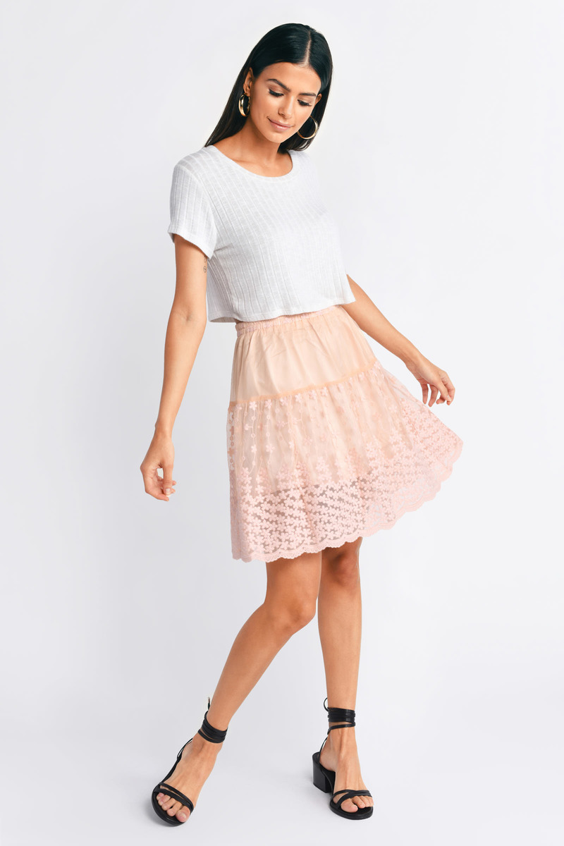 Simply Yours White Lace Skater Skirt