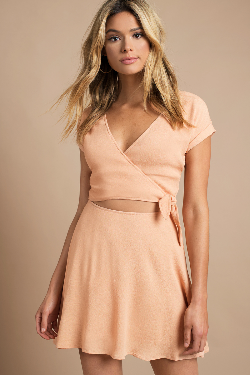 Trendy Peach Wrap Dress - Short Sleeve Dress - $19.00