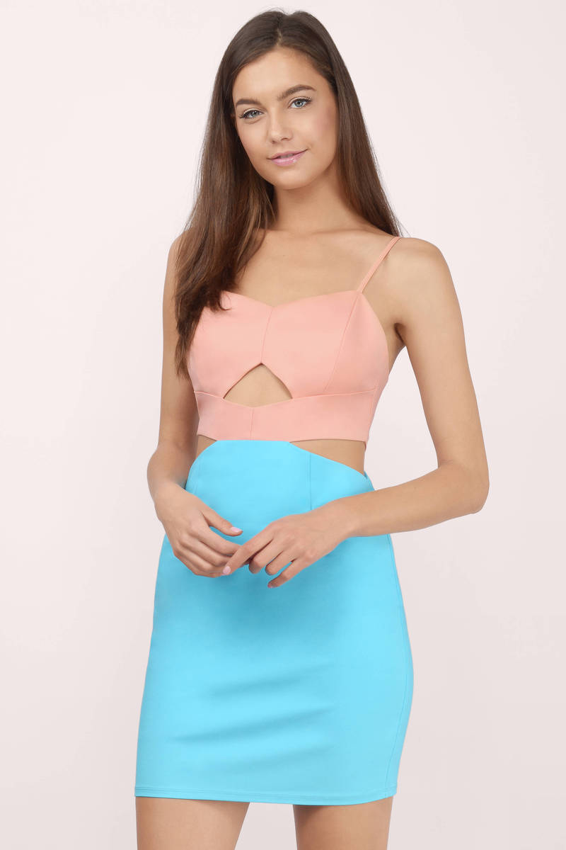 Cute Peach & Teal Dress - Pretty Peach Dress - Bodycon Dress - $17 ...