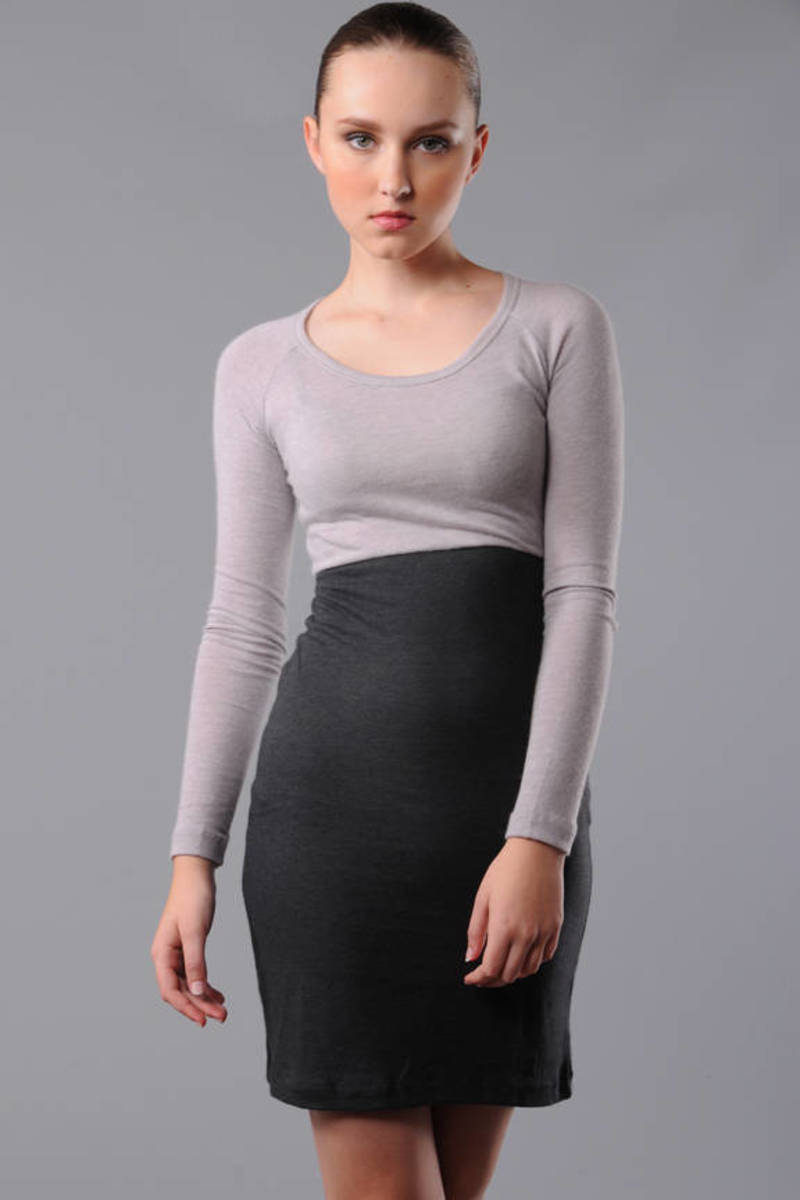 58f832cf6686 James Perse Wooly Jersey Long Sleeve Raglan Dress in Pearl Grey Charcoal
