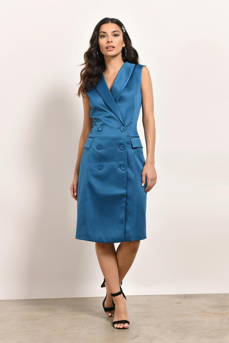 Trendy Petrol Midi Dress - Sleeveless Dress - Midi Dress - $136 ...
