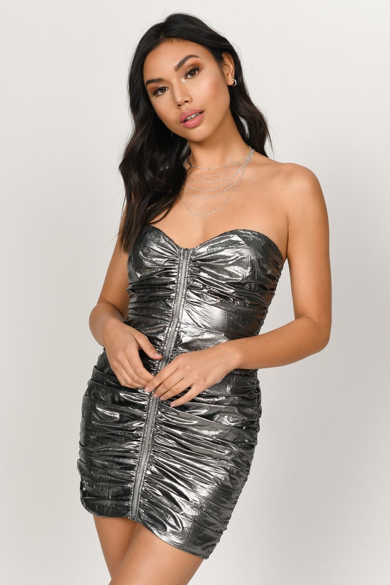 2263efd45ce8 Pewter Metallic Dress - Ruched Strapless Dress - Pewter Bodycon ...