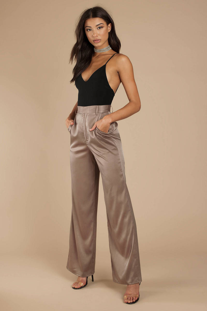 c02f4e0cb99a1d Grey Trousers - High Waisted Wide Leg Pants - Grey Satin Trousers ...